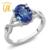 Gemstoneking 1.85 ct oval milênio blue mystic quartzo branco topaz 925 sterling silver três anéis de noivado de pedra