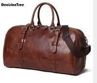 Винтаж из натуральной кожи очень большой выходные вещевой сумки большой Ёмкость путешествия и сумки для ноутбуков Водонепроницаемый Сумка