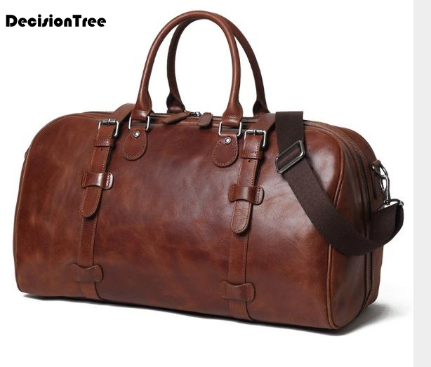 Vintage Genuine Leather extra large weekend Duffel Bags Large Capacity Travel &l