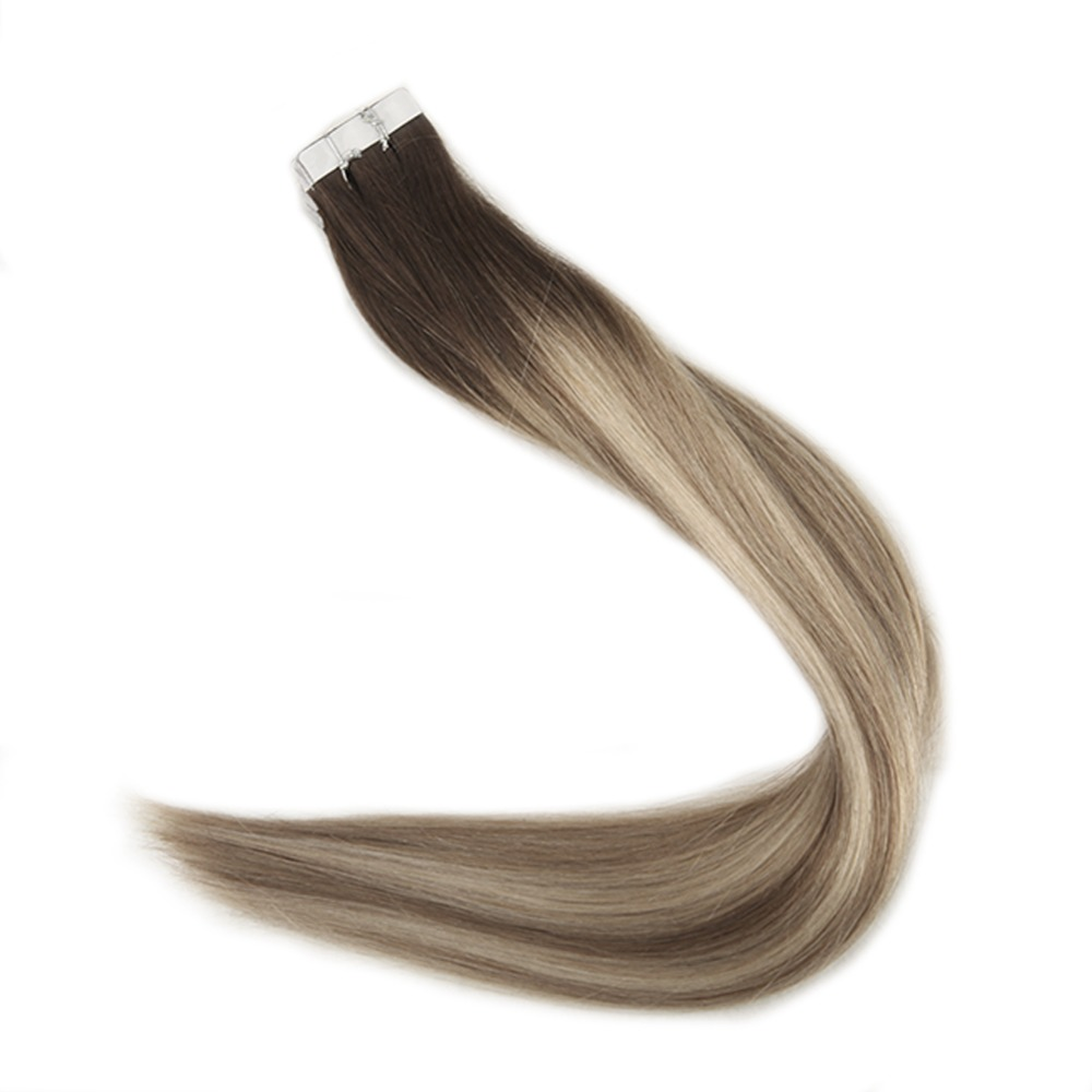 Full Shine Tape in Human Hair Extensions Balayage Color 3 Dark Brown Fading to 6 and