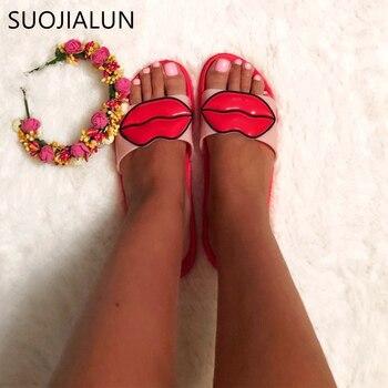Moda 2018 letnie kobiety slajdy damskie buty klapki japonki Cartoon piękny kapcie plażowe sandały na platformie Zapatillas Mujer