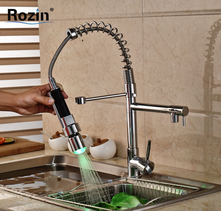 Chrome LED Light Spring Kitchen Faucet Swivel Spout Single Handle Pull out Spray Sink Mixer Tap free shipping high quality chrome brass kitchen faucet single handle sink mixer tap pull put sprayer swivel spout faucet