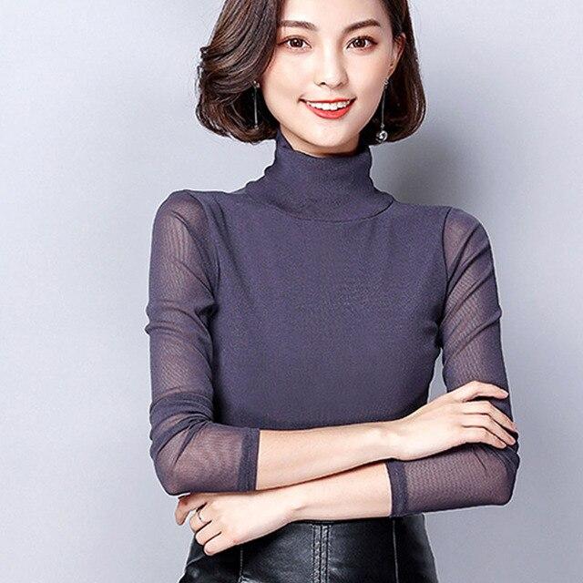 cfc4fd5db16 Turtleneck Sexy Transparent Blouses Women Long Sleeve Blouse Lady Solid  Color Tops Plus Size Blusa de renda feminino Female Tops