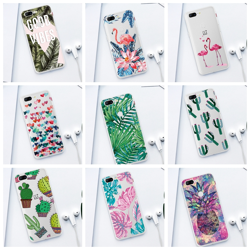 Green Plants Leaf Painted TPU <font><b>Phone</b></font> Case for Oneplus <font><b>6</b></font> 6T 7 Pro Pink Birds Patterned Back <font><b>Cover</b></font> Siliocn Shell for <font><b>One</b></font> <font><b>Plus</b></font> 7 1+<font><b>6</b></font> image