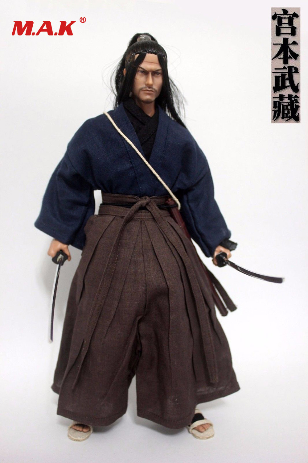 1/6 scale ancient Japanese samurai Ronin Miyamoto Musashi male man head sculpt model clothes clothing set toy with sword sandals цена