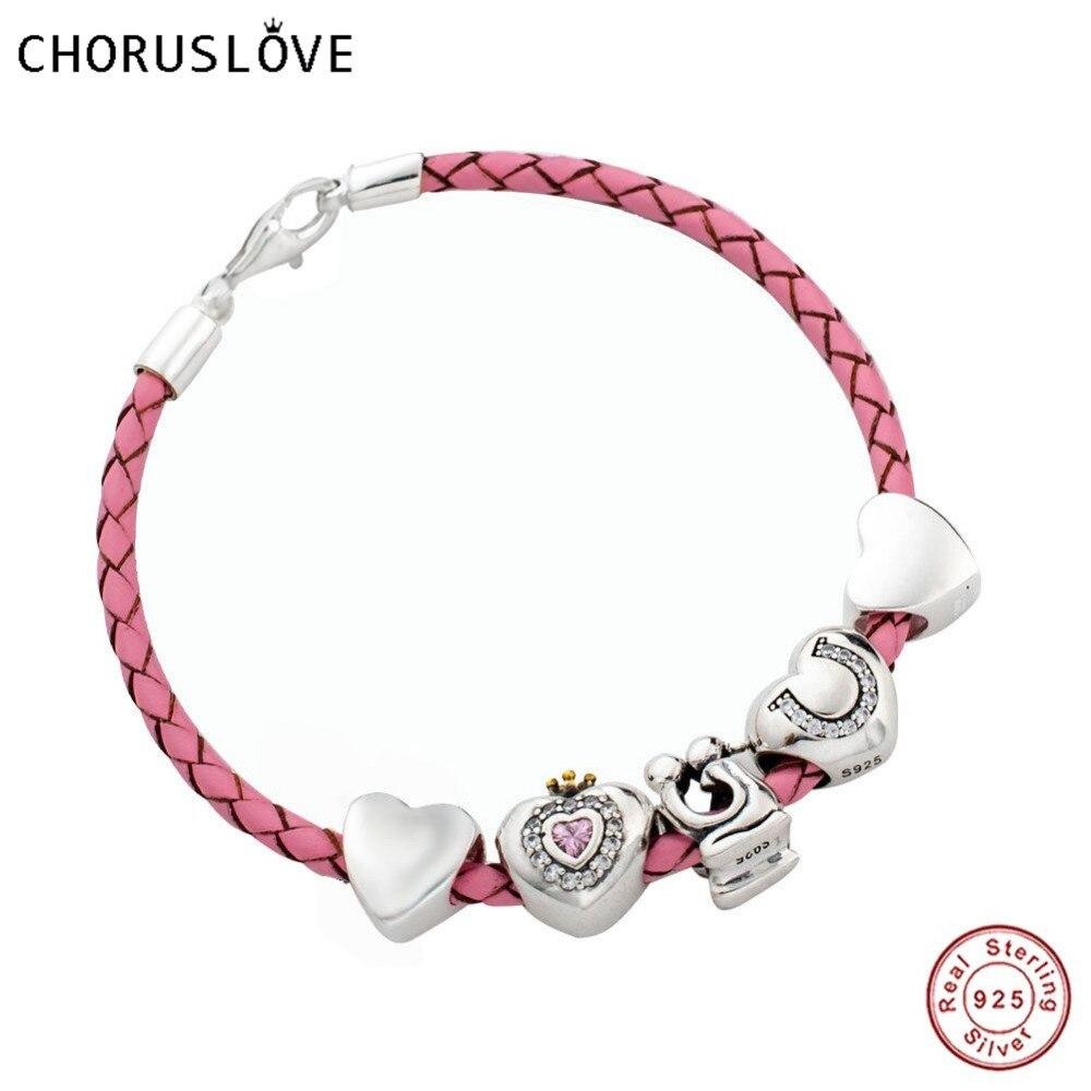Bracelet en cuir tressé rose Choruslove avec breloques cœur d'amour 925 fermoir homard en argent pour petite amie SJ2011