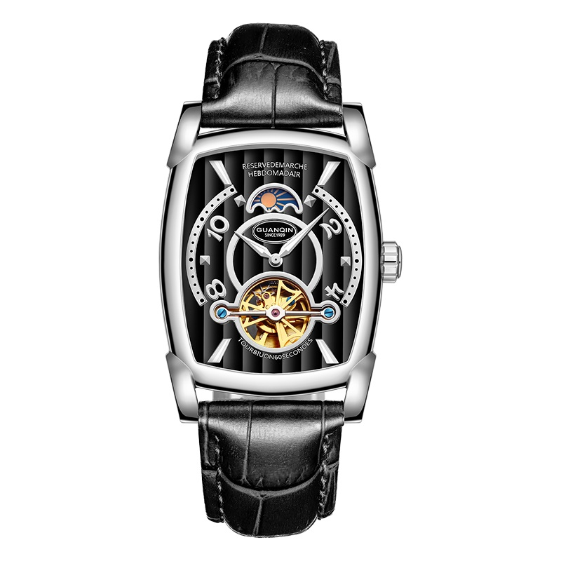 Skeleton watch GUANQIN New Fashion Tourbillon Automatic watch with Moon Phase HD Luminous Sapphire Waterproof Luxury Sport watch forsining2018 fashion casual new luxury roman numeral dail with tourbillon men s watch wristwatch moon phase display skeleton wa