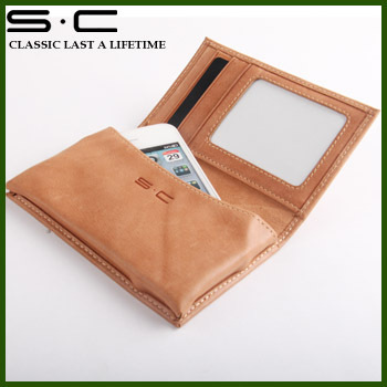 Hot ! Italian leather best style tobacco color For Iphone4g 4s 4 Mobile Phone case/bag with a retail gift box -  W12PC0001