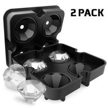 NEW 4 Cavity Diamond Shape 3D Ice Cube Mold Maker Bar Party Silicone Trays Chocolate Mold Ice Cream Tools