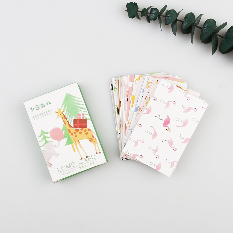 28 Sheets/Set Cute Forest Animals Series Lomo Card Mini Postcard Greeting Card Christmas Gifts