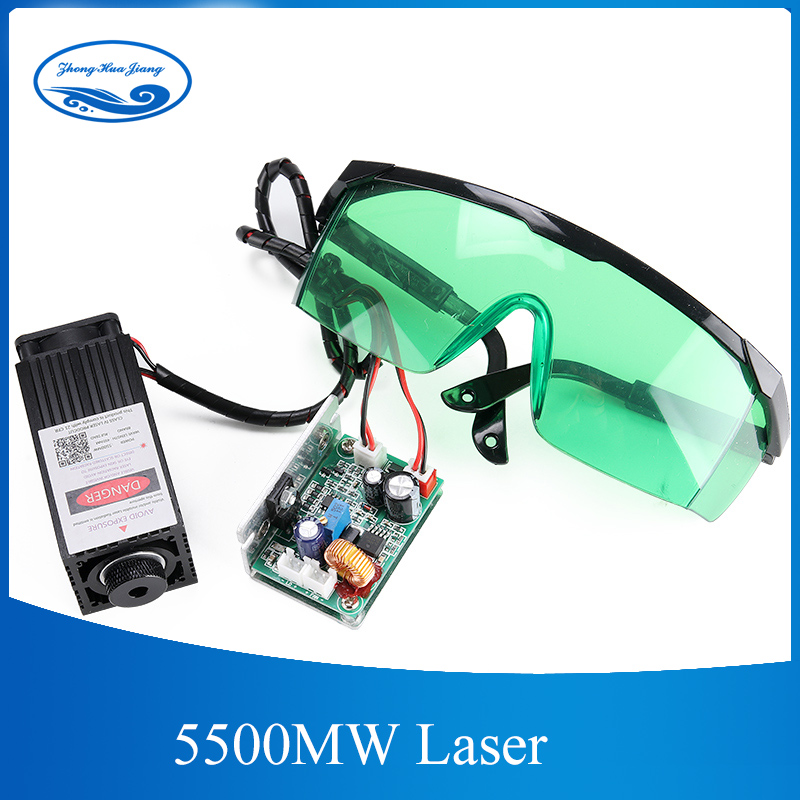 500mw/2500mw/5500mw 450nm 12V Laser Engraving Machine Part Laser Head Laser Module, with TTL PWM, can control laser power and ad 500mw 405nm focusing blue purple laser module engraving laser tube diode hx2 54 2p port protective goggles