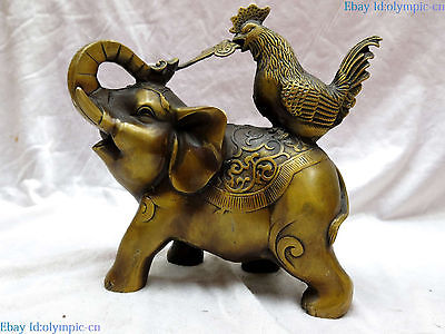 Fine Brass sculpture China copper Feng Shui lucky money elephant rooster Statue Fine Brass sculpture China copper Feng Shui lucky money elephant rooster Statue