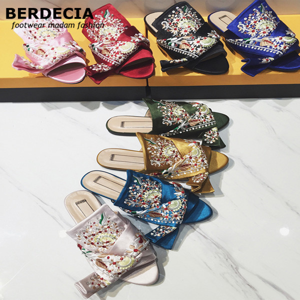 Handmade embroidery Women Slippers Summer Gladiator Sandals Silk Floral Casual Shoes Woman Peep Toe Slides knot Loafers Flats lanshulan wedges gladiator sandals 2017 summer peep toe platform slippers casual glitters shoes woman slip on flats creepers