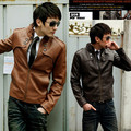 2016 spring autumn new Korean version hot sale fashion Slim casual men's Stand collar zipper motorcycle leather Cheap wholesale