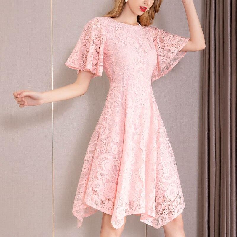 PIXY robe en dentelle rose douce femmes d'été Midi robes irrégulières basique rétro Hepburn petits vestidos noirs dames Vintage sukienka