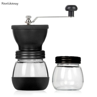 Modern Stainless Steel Glass Hand Manual Grinder Set Mills Adujustable Kitchen Grinding Pepper Coffee Nuts Pills Spice Mill DH65