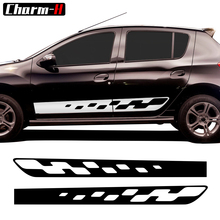 2pcs Car Styling Side Skirt Stripes Decals Racing Sport Graphics For Renault Dacia Sandero 2 RS Sticker Accessories