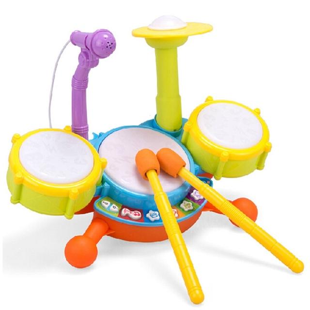 Recém Aprendizagem Brinquedo Do Bebê Instrumento Musical Crianças Simulação Mini Luzes de Ritmo Drum Set com Microfone Desenvolver A Inteligência de Brinquedo