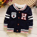 New Autumn Casual Kids Casaco Long Sleeved Letter H Striped  Boys Jackets Cardigan Baby Infants Outwear Coats MT812