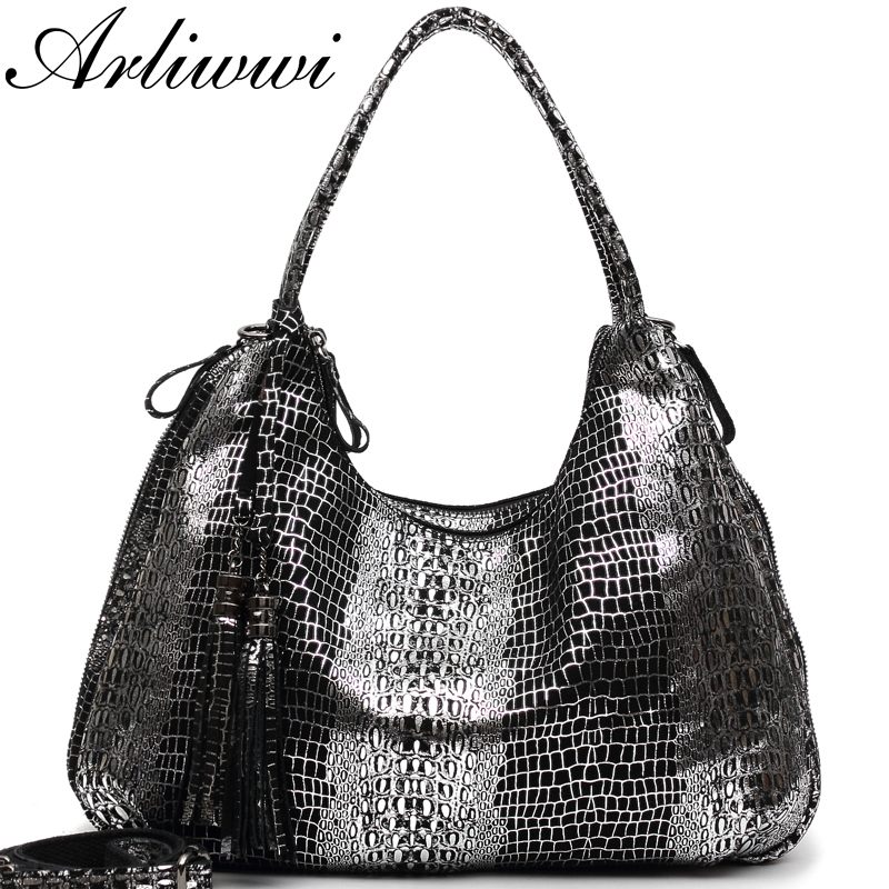Arliwwi Shiny Crocodile Pattern Genuine Cow Leather Double Layer Pockets Large Capacity Bags Female Women REAL