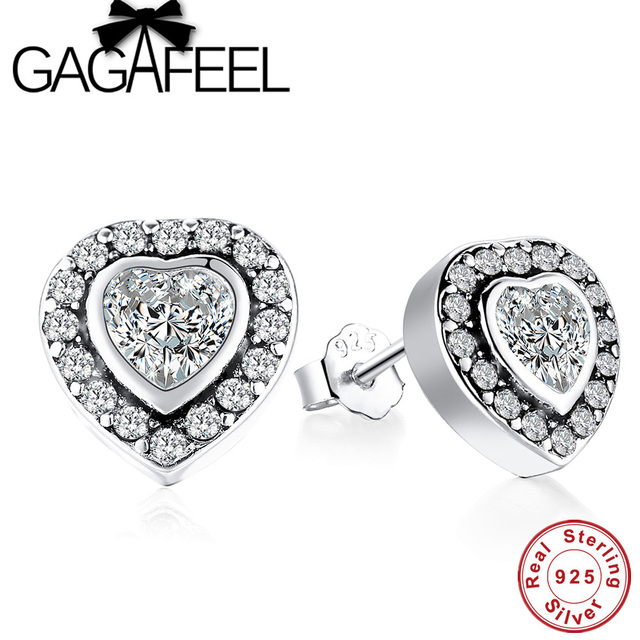 Sterling Silver Love Heart Earrings with Clear Crystal Stones cgFv6kO
