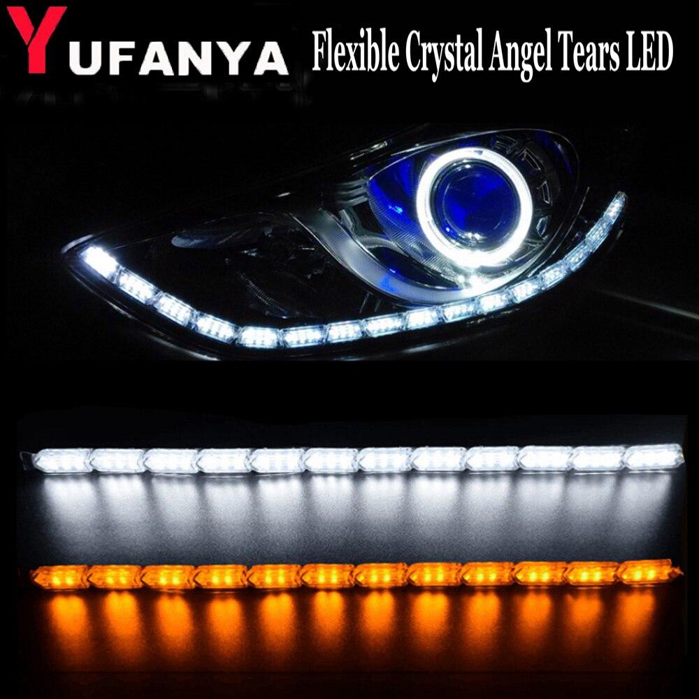 Flexible Lightbar Style DRL LED Daytime Running Lights Lamps Xenon White For VW