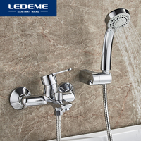 LEDEME Round Shower Faucet Set For Bathroom Outlet Pipe Chrome Plated Bath Big Faucets Surface Brass