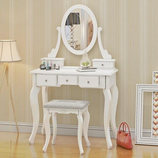 Tocador de madera maquillaje escritorio con taburete oval espejo 5 ...