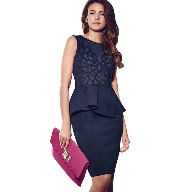 d2cf5906d4a4 Navy Blue Lace Mesh Sleeveless Peplum Dress 2015 Women Fashion Office Dress  Knee Length Formal Dress ...