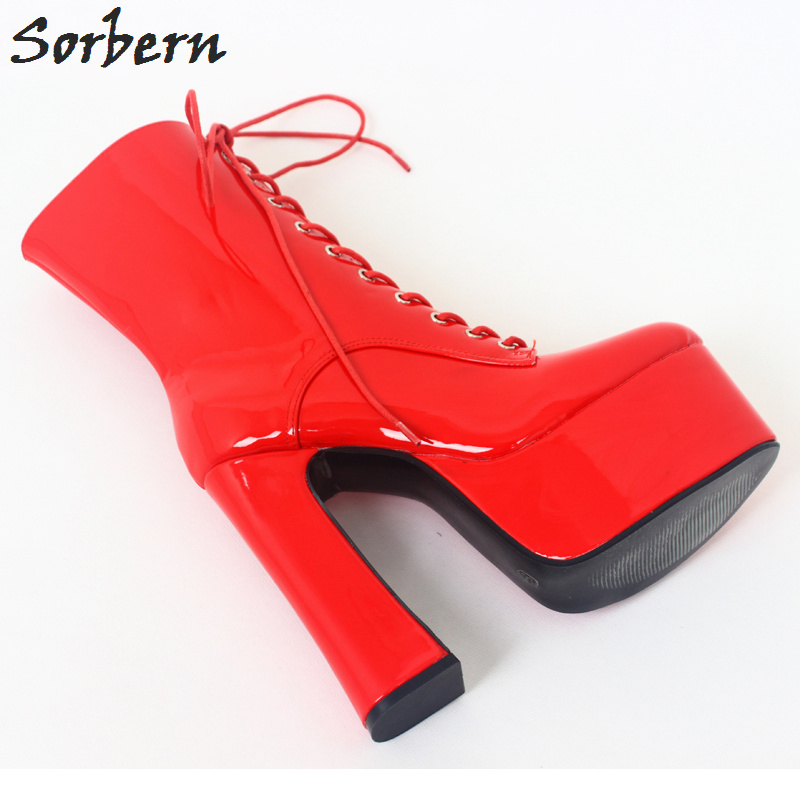 Los Color Sorbern Zapatos Tacón Altos De Cruz Del Atado Punta Rojo 45 Alto Tobillo Grueso Plataforma Tamaño Tacones Custom rojo Señoras Botas Y vw41vx7r