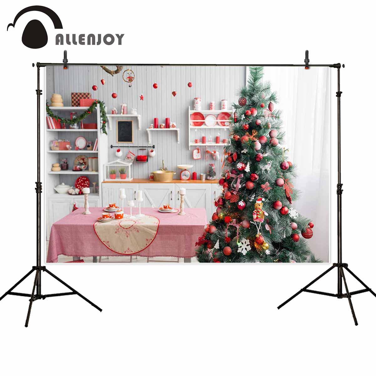 Allenjoy Kerst Keuken Fotografie Achtergrond Boom Hout Candy Bar Achtergrond Kinderen Photophone Photocall Indoor Decoratie