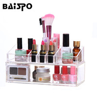 BAISPO Makeup Organizer Storage Box Acrylic Make Up Organizer Cosmetic Drawers Organizer 1069 Kouhongzhanshihe
