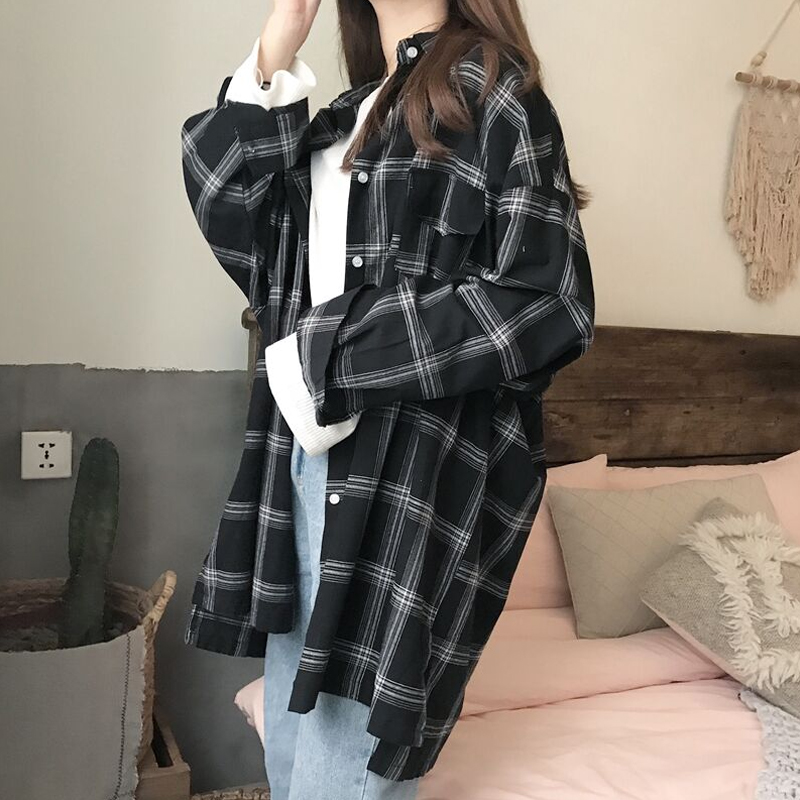 Women Plaid Shirts 2018 Spring Long Sleeve Blouses Shirt Office Lady Cotton Shirt Casual Loose Tops Plus Size Blusas 0.25KG