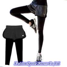 Women Running Yoga Pants With Shorts Skirt Trousers Workout Clothes Sport Slim Fitness Sports Leggings  For Gym Lulu Clothing