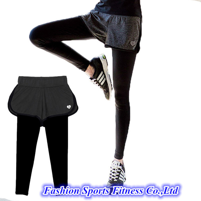 cc29c3107a09ec Women Running Yoga Pants With Shorts Skirt Trousers Workout Clothes Sport  Slim Fitness Sports Leggings For Gym Lulu Clothing