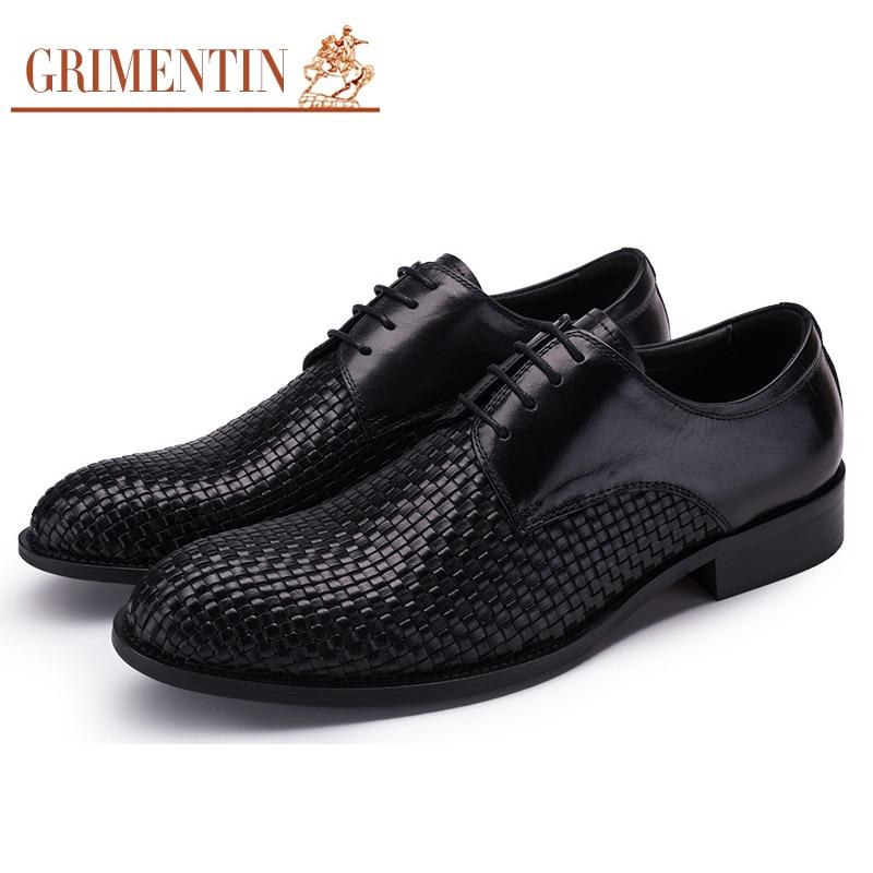 4b1c973a8 GRIMENTIN الأزياء نسج رجل اللباس أحذية جلد طبيعي أسود الرجال أحذية الزفاف