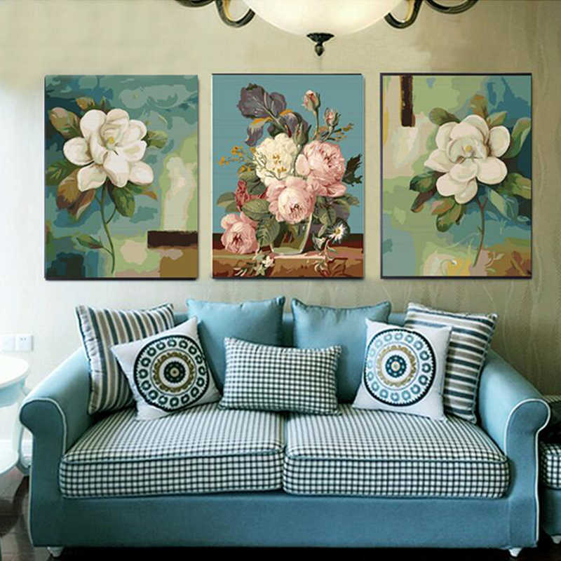 oil painting by numbers painting calligraphy coloring by number flowers acrylic wall picture for living room
