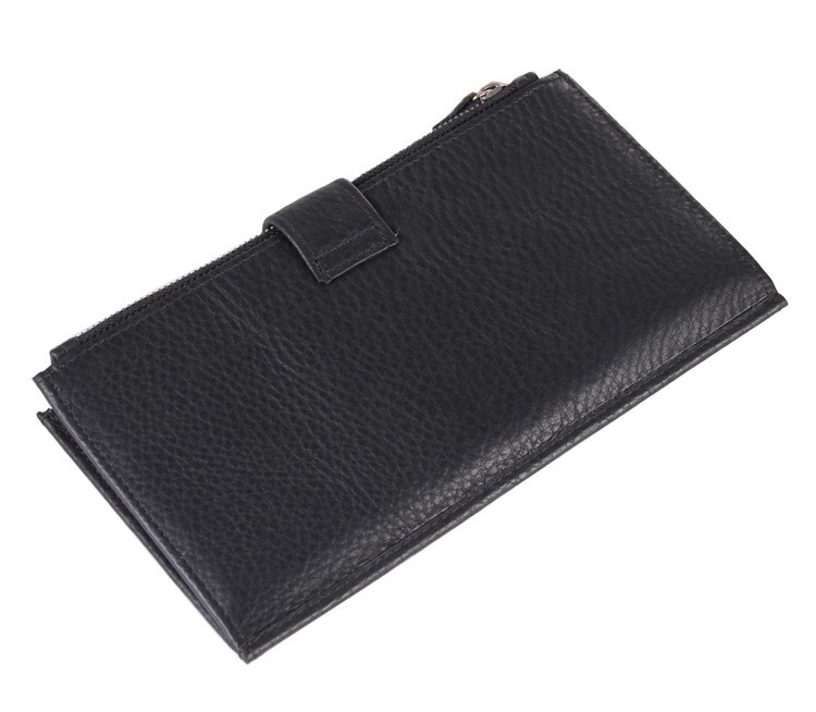 8057C High Capacity Black Fashion Genuine Leather  Mens Wallet Clutch Bag
