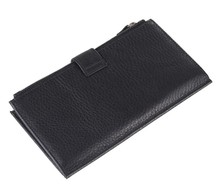 8057C High Capacity Black Fashion Genuine Leather  Mens Wallet Clutch Bag