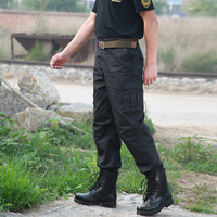 Men Spring Autumn Black Army Military Training Pants Outdoor Hiking Climbing Multi Pocket Labor Insurance Security