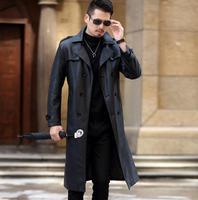 Зима тонкий мотоцикл длинные кожаные пальто мужская повседневная Двубортный пиджак мужские кожаные тренчи с лацканами черные модные M 3XL