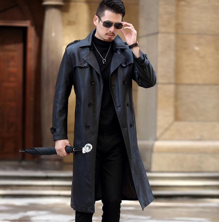 a3bf4ffe8 US $127.82 23% OFF|Winter slim motorcycle long leather coats men casual  double breasted coat mens leather trench coats lapel black fashion M 3XL-in  ...