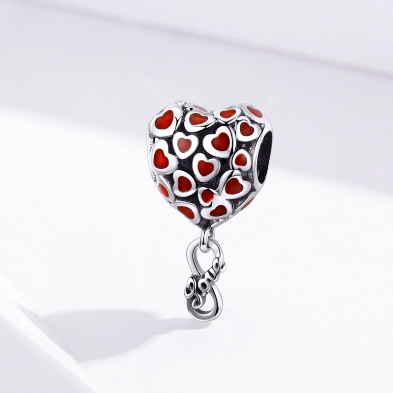 Red Heart Charms 925 Sterling Silver Enamel Infinity Love Beads fit for Women Bracelet Silver 925 Original SCC1180 in Beads from Jewelry Accessories