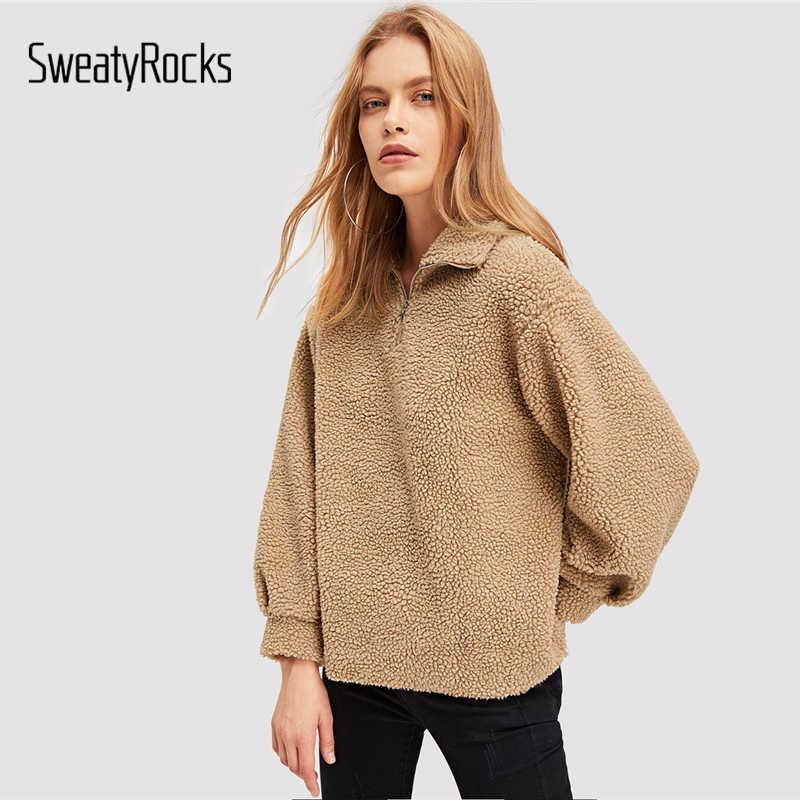 SweatyRock Khaki Zip Half Placket Teddy Sweatshirts Streetwear Stand Collar  Tops 2018 Autumn Winter Women Casual ed8856d91