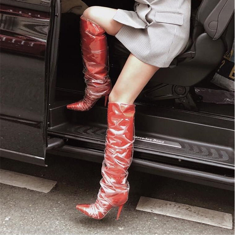 Desginer Brand PVC-wrapped Satin Knee Boots High Heel Pointed Toe Red Knee High Bota Women Autumn Shoes Bota Feminina Long Boots