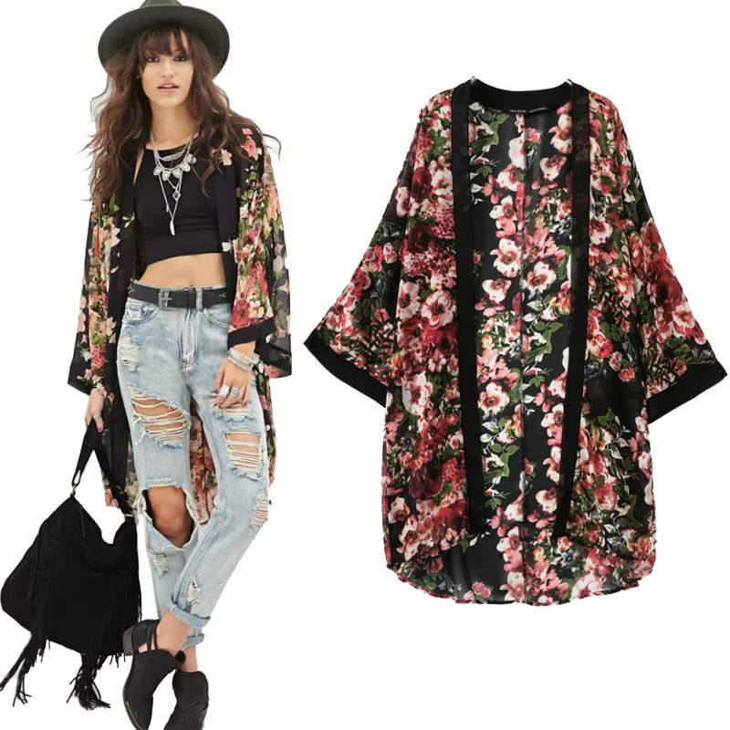 JAYCOSIN Blouse Cardigan Kimono Floral-Dress Flower Vest Jacket Women Chiffon Outwear