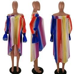 Sukienka Neon Sukienka kobiety lato paski Off Shoulder szyfonowa plaża sukienki luźne woal nieregularny tęczowy Sukienka z włókna Plus rozmiar 4