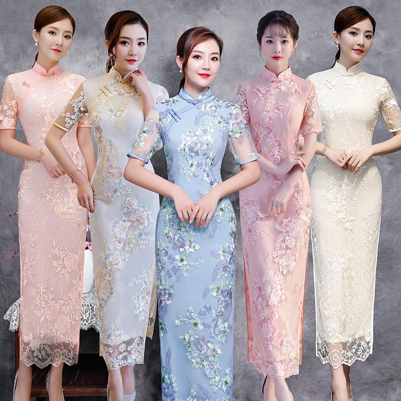 Chinese Style Long Cheongsam Fashion New Women's Lace Dress Elegant Slim Qipao Evening Party Dress Vestidos