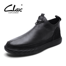 CLAX Men Leather Shoes Spring Autumn Genuine Leather Casual Shoe Male Walking Footwear Zipper Winter Shoe Fur chaussure homme