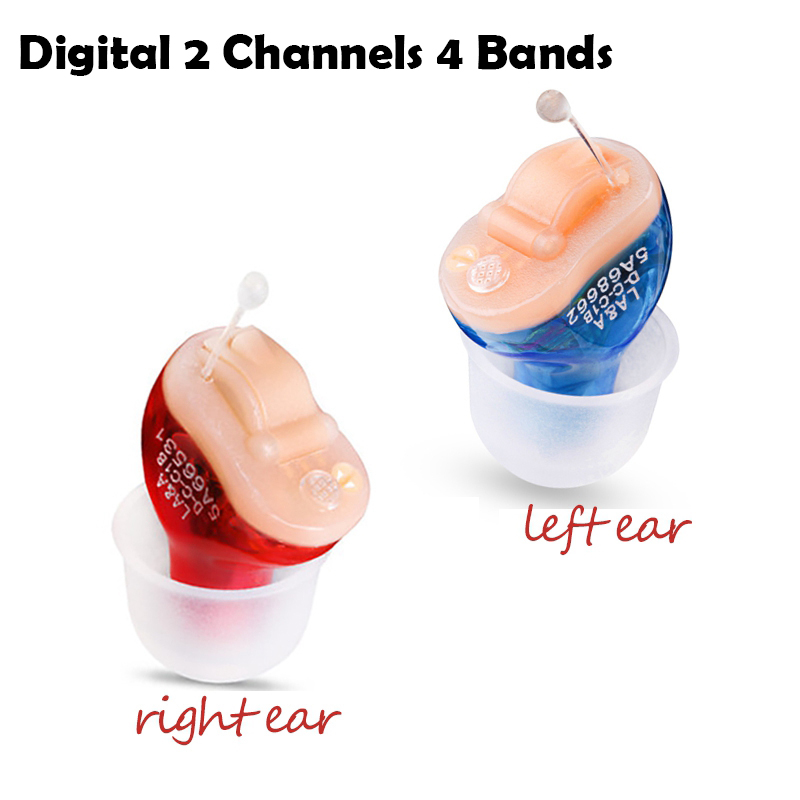 CIC Digital 2 Channels 4 Bands Hearing Aid Mini Tuneable Sound Amplifier In The Ear Portable Invisible Hearing Aids Dropshipping vohom vhp602 aparelho auditivo hearing mini digital cic hearing aids instrument assistant hearing aid ear sound amplifier